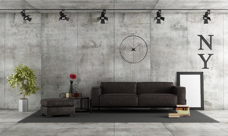 Living room with leather sofa against concrete wall - 3d rendering