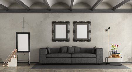 Retro living room with modern sofa and easel with blank frame - 3d rendering