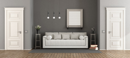 White and gray classic living room with elegant sofa and two closed doors - 3d rendering Фото со стока