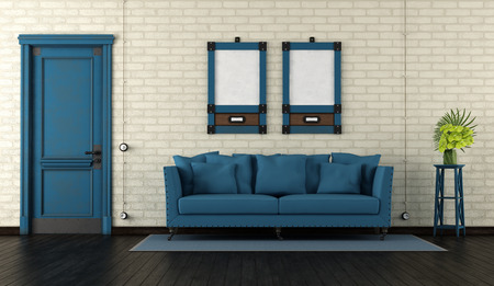 Retro living room with closed door and blue sofa against brickwall - 3d rendering