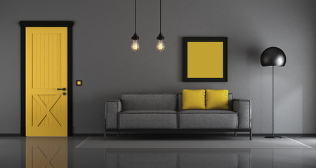 Yellow and gray minimalist living room with sofa and closed door - 3d rendering