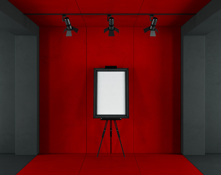 Minimalist art gallery with blank frame on easel against red concrete wall - 3d rendering Фото со стока