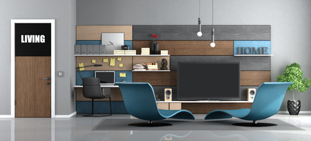 Modern living room with tv and workstation with laptop - 3d rendering Фото со стока