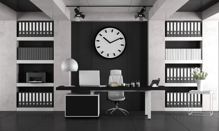 Black and white minimalist office with laptop om desk and bookcase - 3d rendering