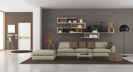 Living room of a modern house with sofa,bookcase and front door on background - 3d rendering Фото со стока