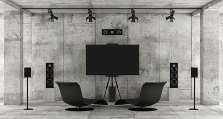 Home cinema system in a concrete room with tv, sound equipment and two chaise lounge - 3d rendering
