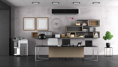 Modern office with large desk and bookcase - 3d rendering