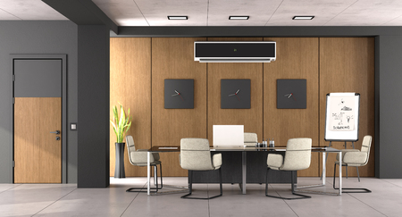 Black and wooden boardroom with modern office furniture and closed door - 3d rendering