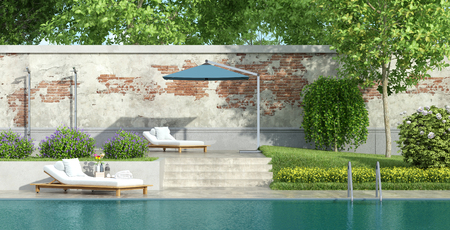 Garden with large swimming pool and lush vegetation - 3d rendering Фото со стока
