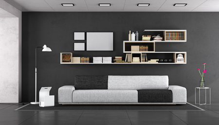 Black and white modern living with fabric sofa and bookcase on wall - 3d rendering