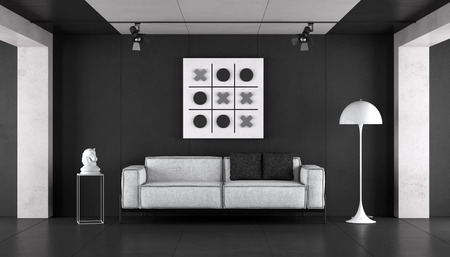 Minimalist living room with modern sofa and floor lamp against black cement wall - 3d rendering