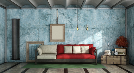 Colorful living room in industrial style with sofa against old blue wall 3d rendering Фото со стока
