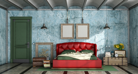 Colorful bedroom in retro style with leather double bed and closed door - 3d rendering