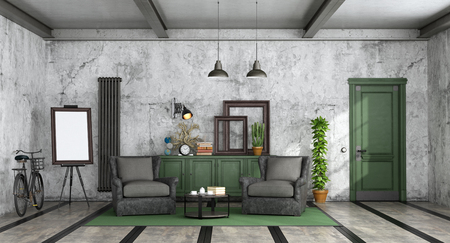 Living room in industrial style with leather old armchair,sideboard and closed door - 3d rendering