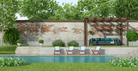Garden with large pool,deck chair and blue sofa under a wooden pergola - 3d rendering Фото со стока