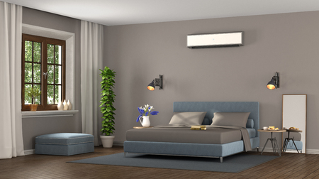Blue and brown modern master bedroom with air conditioner- 3d rendering