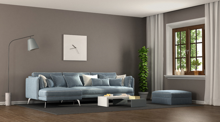 Brown and blu elegant living room with angle sofa and wooden window - 3d rendering Фото со стока