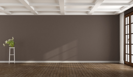 Empty brown room with window and white coffered ceiling - 3d rendering Фото со стока