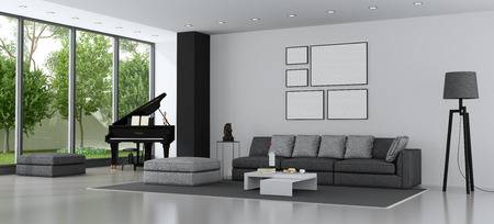 Living room of a modern villa with sofa and grand piano - 3d rendering Фото со стока