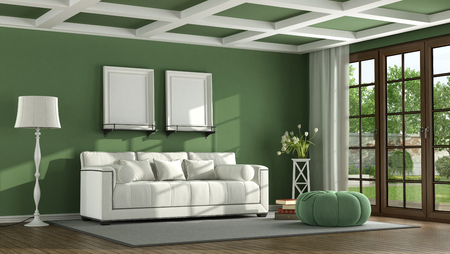 Green classic living room with white sofa and wooden window - 3d rendering