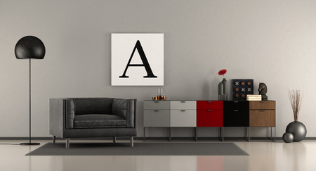 Modern living room with sideboard and black armchair - 3d rendering