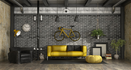 Modern living room in a loft with sofa,armchair and bicycle hanged on brick wall - 3d rendering