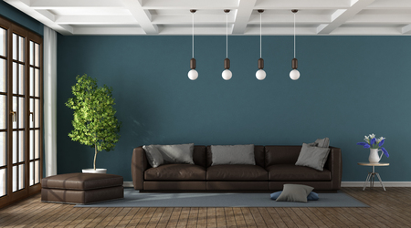 Brown sofa in a blue living room with large window and coffered ceiling - 3d rendering