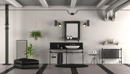 Black and white vintage bathroom with washbasin,radiator and footstool - 3d rendering