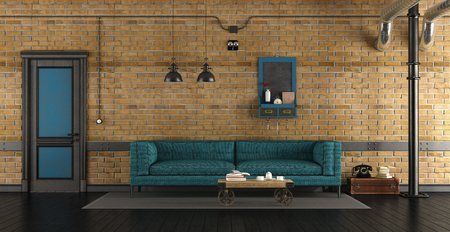 Living room in a loft with blue sofa against brick wall and closed door - 3d rendering