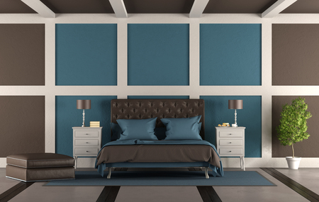 Brown and blue master bedroom with leather double bed - 3d rendering