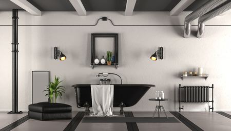 Black and white retro bathroom with classic bathtub - 3d rendering