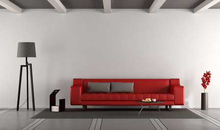 Minimalist living room with red sofa against white wall - 3d rendering