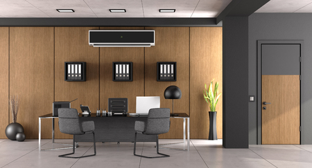 Modern office with large desk ,chairs and air conditioner - 3d rendering Stock Photo