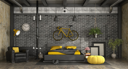 Black and yellow master bedroom in a loft with double bed against brick wall - 3d rendering