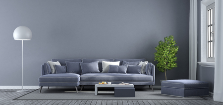 Modern purple living room with sofa,footstool and window - 3d rendering