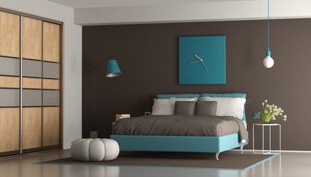 Blue and brown modern master bedroom with double bed and wardrobe - 3d rendering