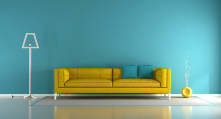 Blue and yellow minimalist living room with fabric sofa and floor lamp - 3d rendering