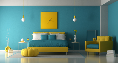 Blue and yellow master bedroom with double bed and armchair - 3d rendering Stok Fotoğraf