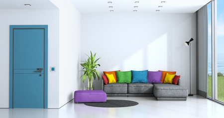 Bright living room with white walls and colorful sofa - 3d rendering