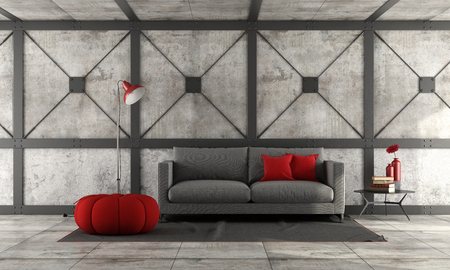 Modern sofa in a loft with concrete wall and metal beams- 3d rendering