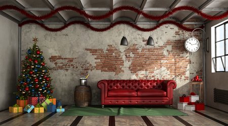 Modern living room in a loft with red sofa and christmas decoration - 3d rendering