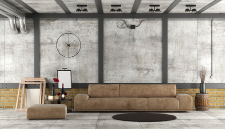 Living room in a loft with leather sofa against brick and concrete wal - 3d rendering