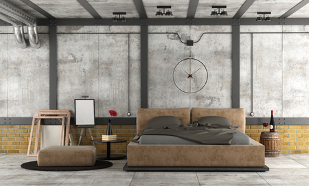 Master bedroom in a loft with leather double bed and decor objects - 3d rendering Фото со стока