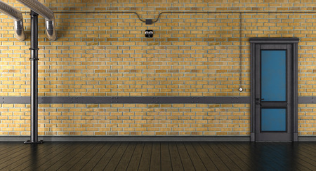 Empty room with brick wall and closed door in a loft - 3d rendering