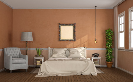 Master bedroom in classic style with wooden bedroom and armchair - 3d rendering Фото со стока