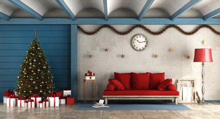 Living room in rustic style with christams decoration 3d rendering