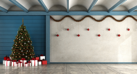 Empty living room with christmas tree,gift and decorations - 3d rendering