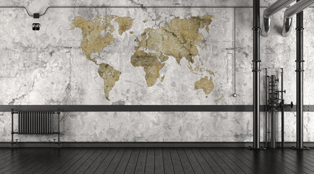 Empty room in a loft with world map on wall - 3d rendering Фото со стока