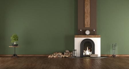 Empty green room with fireplace and hardwood floor - 3d rendering