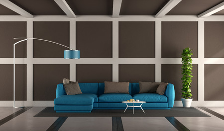 Blue and brown modern living room with elegant sofa and floor lamp - 3d rendering